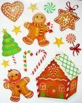 Mézeskalács, csillámos karácsonyi ablakmatrica a Dekormatricák webáruházban