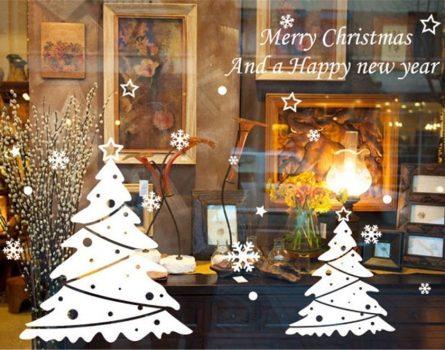 Karácsonyfák, dekoráció ablakra, kirakatra