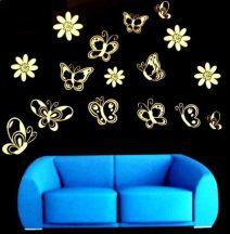 Pillangók és virágok, éjjel világító falmatrica