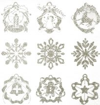Karácsony-4, ezüst csillámos karácsonyi ablakmatrica a Dekormatricák webáruházban
