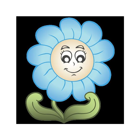 Nonfiguratív futóvirág kék pillangókkal, falmatrica