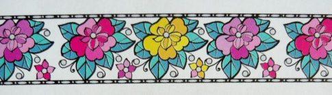 Élénk virágok, bordűr kontúrmatrica
