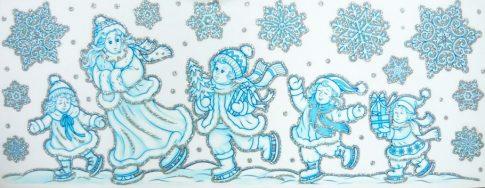 Karácsonyi látogatás, ezüst csillámos karácsonyi ablakmatrica a Dekormatricák webáruháztól