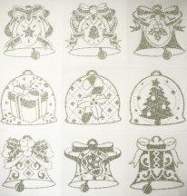 Karácsony-3, ezüst csillámos karácsonyi ablakmatrica a Dekormatricák webáruházban