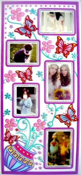 Virágok vázában pillangókkal, kontúrmatrica fényképkeretekkel