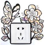 Pillangó virágokkal, kontúrmatrica villanykapcsoló köré