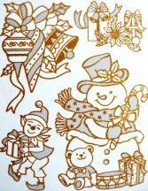 Karácsonykor, arany csillámos ablakmatrica Karácsonyra