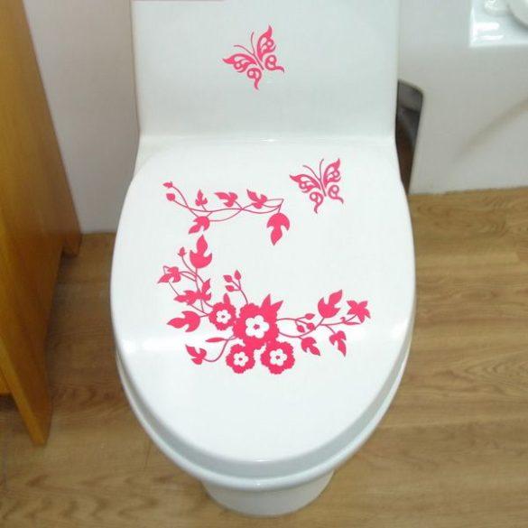 Virágok pillangókkal, toalett díszítő matrica