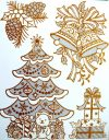 Karácsonyfa, arany csillámos ablakmatrica Karácsonyra