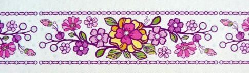Színes virágok, bordűr kontúrmatrica