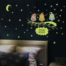Baglyok, éjjel világító falmatrica a Dekormatricák webáruháztól