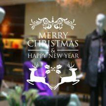 Szarvasok, nagy méretű karácsonyi üvegmatrica