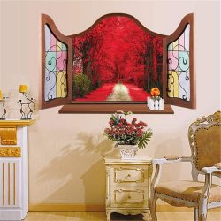 Romantikus út piros leveles fák alatt, ablakos falmatrica