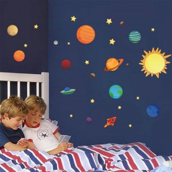 Éjjel világító színes égitestek falmatrica a Dekormatricák webáruházban