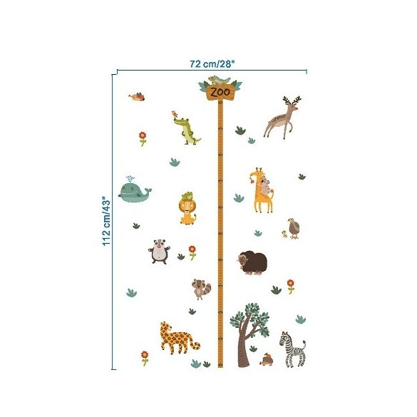 Állatkert, magasságmérő falmatrica gyerekeknek a Dekormatricák webáruházban
