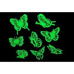 Éjjel világító pillangók, 3D dekoráció
