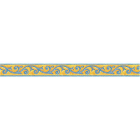 Sárga-kék indás mintás öntapadós bordűr