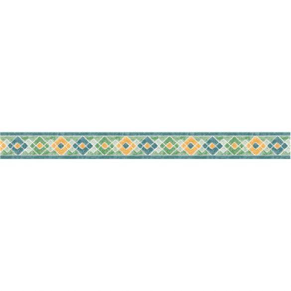 Sárga-kék-zöld rombusz mintás öntapadós bordűr