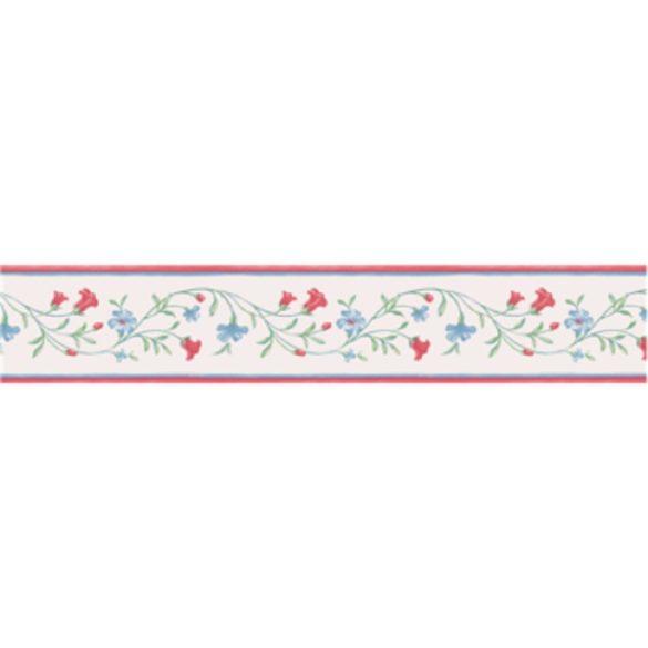 Piros-kék virágos mintás öntapadós bordűr