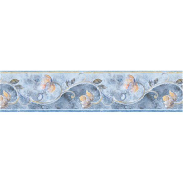 Kék virágos mintás öntapadós bordűr