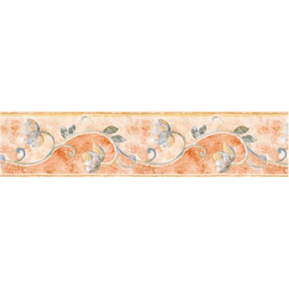 Narancssárga virágos mintás öntapadós bordűr