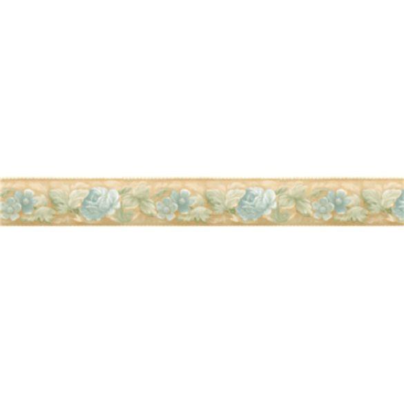 Halvány kék virág mintás öntapadós bordűr