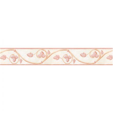 Rózsaszín levél mintás öntapadós bordűr