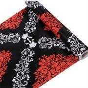 Piros-fehér mintás öntapadós tapéta