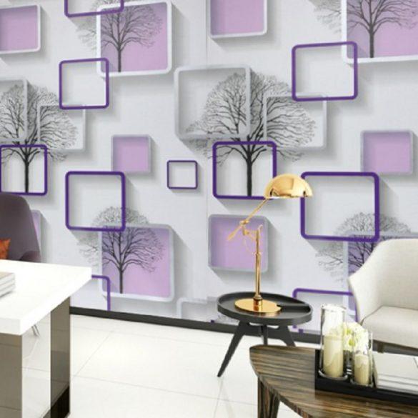 Lila négyzet mintás öntapadós tapéta