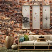 Vöröses vintage téglamintás 3D öntapadó tapéta a Dekormatricák Webáruházban