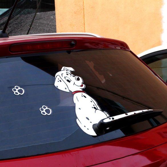 Farkát csóváló dalmata, hátsó szélvédő matrica a Dekormatricák webáruház autómatricái közül
