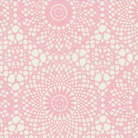 Rózsaszín csipke mintás öntapadós tapéta