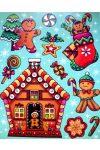 Mézeskalács figurák, színes, csillámos ablakmatrica
