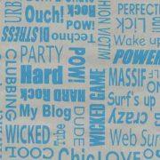 Ezüst kék felirat mintás öntapadós tapéta