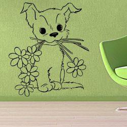 Virággal kedveskedő kutyus falmatrica a Dekormatricák falmatrica webáruházban