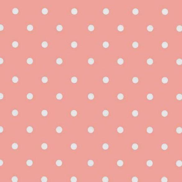 Rózsaszín vintage pöttyös mintás öntapadós tapéta