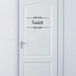 Toalett felirat ajtóra, matrica a Dekormatricák Webáruházban