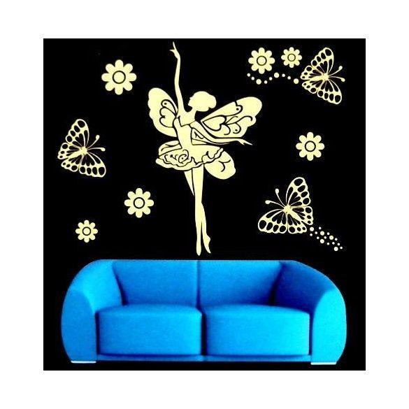 Tündér pillangókkal, éjjel világító falmatrica, rózsaszín