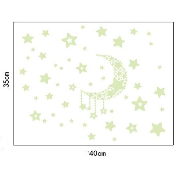Hold csillagokkal, éjjel világító falmatrica