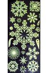 Hópelyhek, világító, csillámos dekormatrica