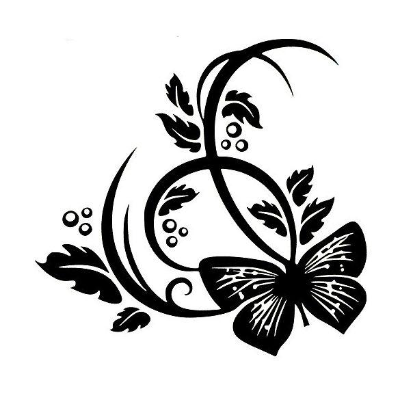 Nonfiguratív virág pillangóval, falmatrica