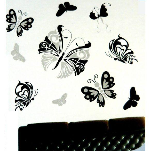 Pillangók,ezüst glitteres, köves falmatrica
