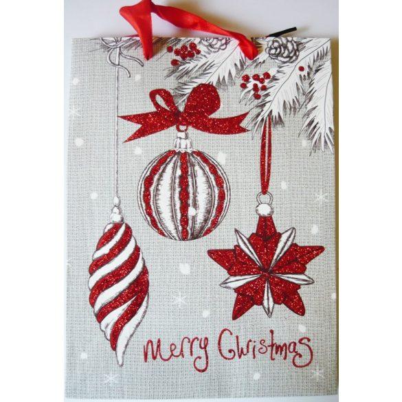 Merry Christmas, karácsonyi ajándéktáska, M méret a Dekormatricák webáruháztól