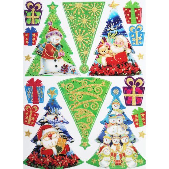 Karácsonyfák, csillámos ablakmatrica Karácsonyra - Dekormatricák webáruház