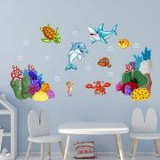 Víz alatti világ, gyerekszoba falmatrica mutatos gyerekszoba dekoracio a Dekormatricak webaruhaztol