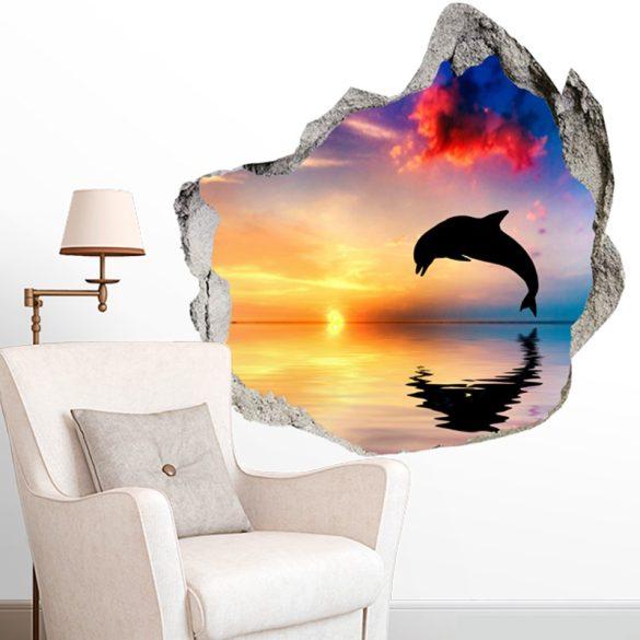 Delfin sziluett a naplementében_falmatrica, falmatrica a Dekormatricák Webáruházból
