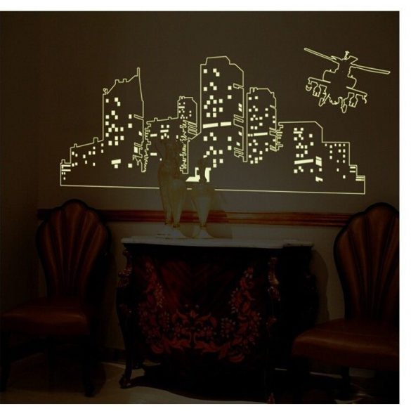 Város helikopterrel, éjjel világító falmatrica