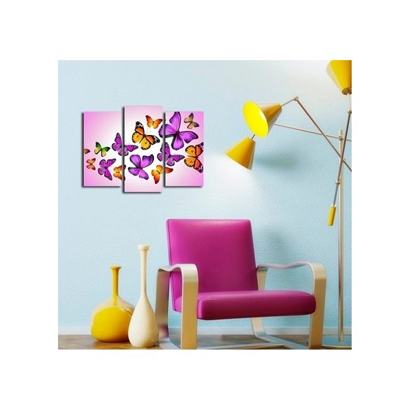 Pillangók, 3 részes falikép, falmatrica szett