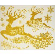 Szarvasok arany csillámos karácsonyi ablakmatrica a Dekormatricák webáruházban