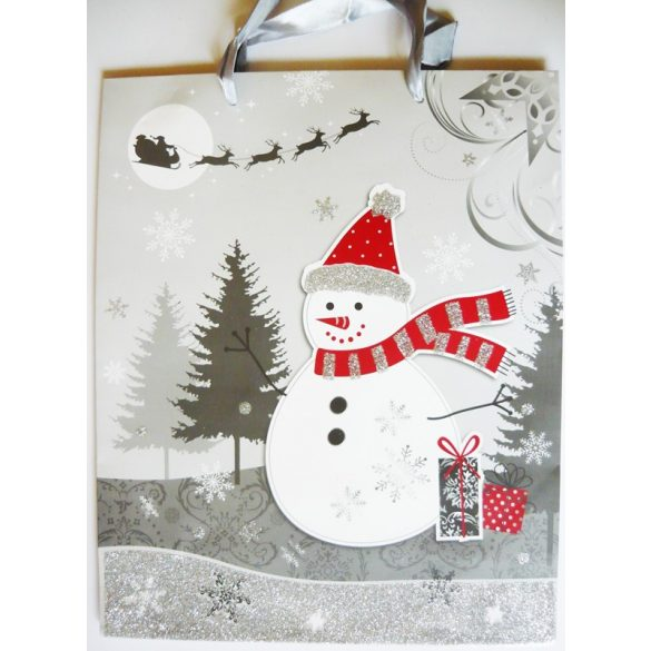 Hóember, karácsonyi ajándéktáska, L méret a Dekormatricák webáruháztól